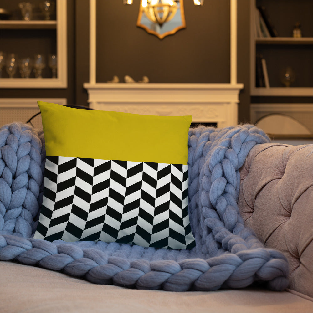 Tricolor Zigzag Designed Pillow