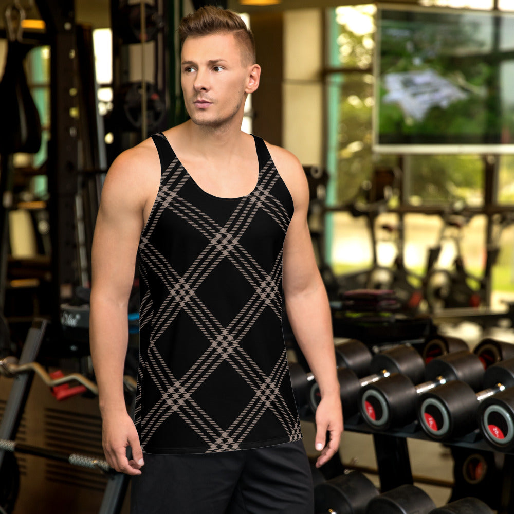 Black and Nude Plaid Unisex Tank Top