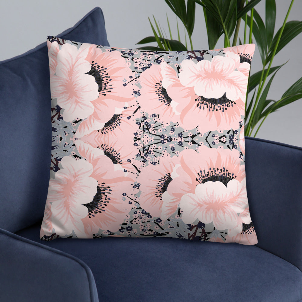 Pink Gray Spring Floral Throw Pillow
