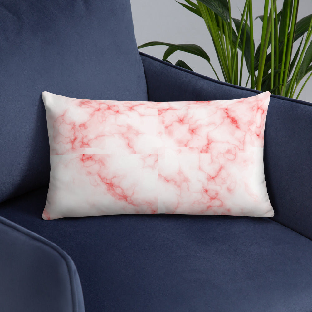 Pink and White Marble Throw Pillow