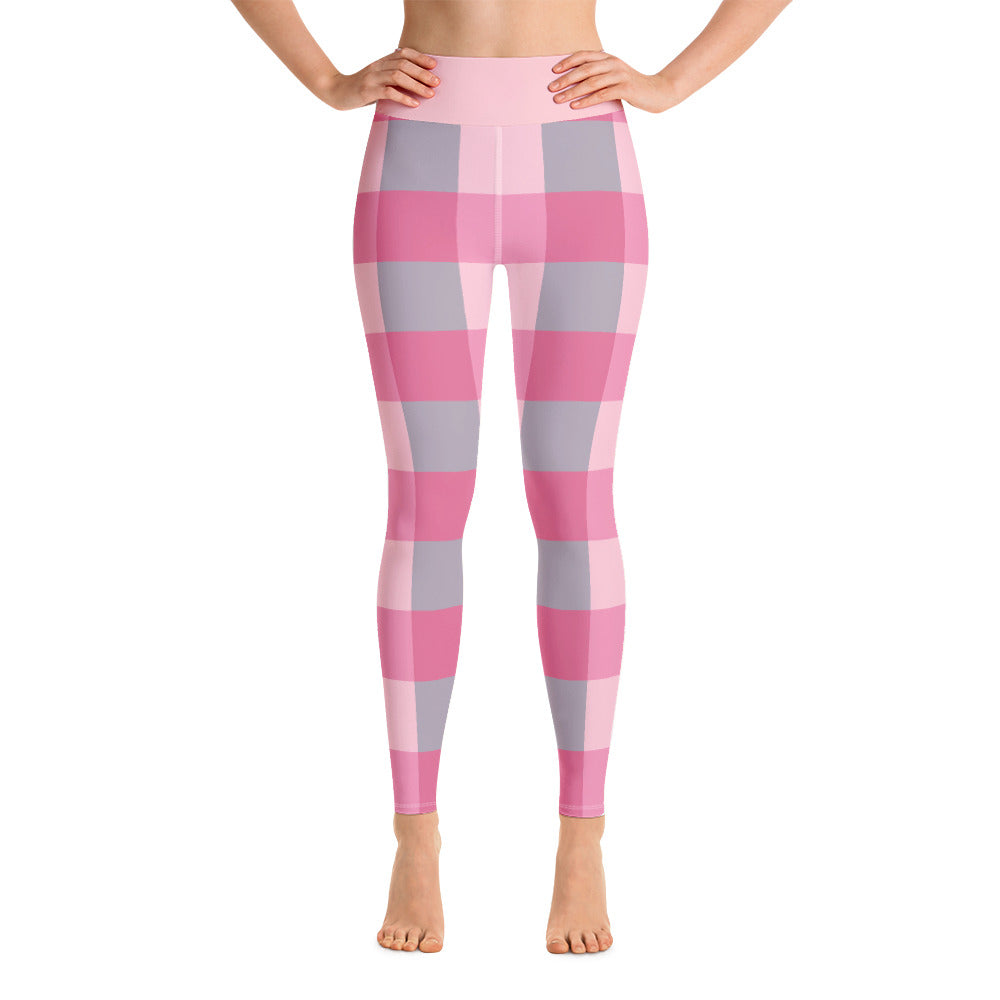 Girlfriend Pink Check Yoga Leggings