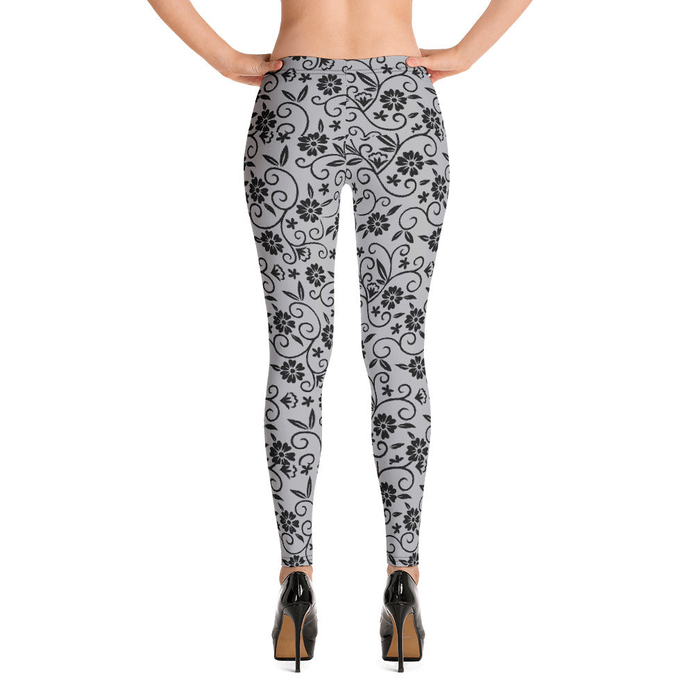 Black and Grey Floral Leggings for Women