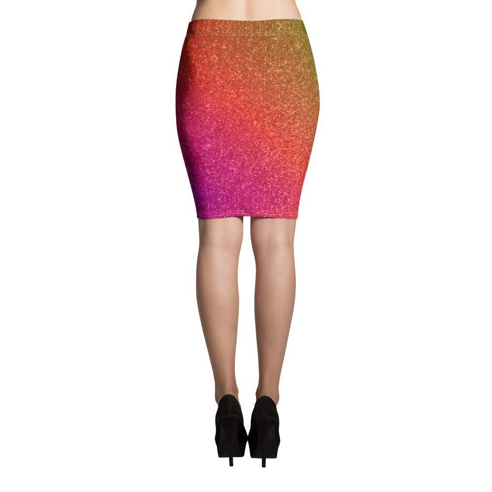 Pink Orange and Purple Glittery Pencil Skirt