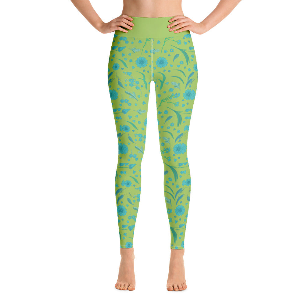 Parrot Green Blue Floral Yoga Leggings