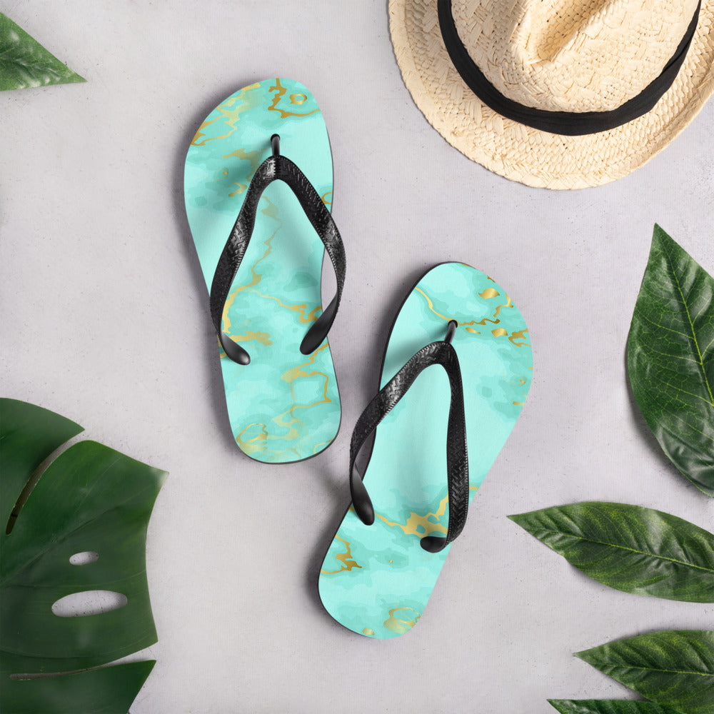 Turquoise and Gold Marble Flip-Flops