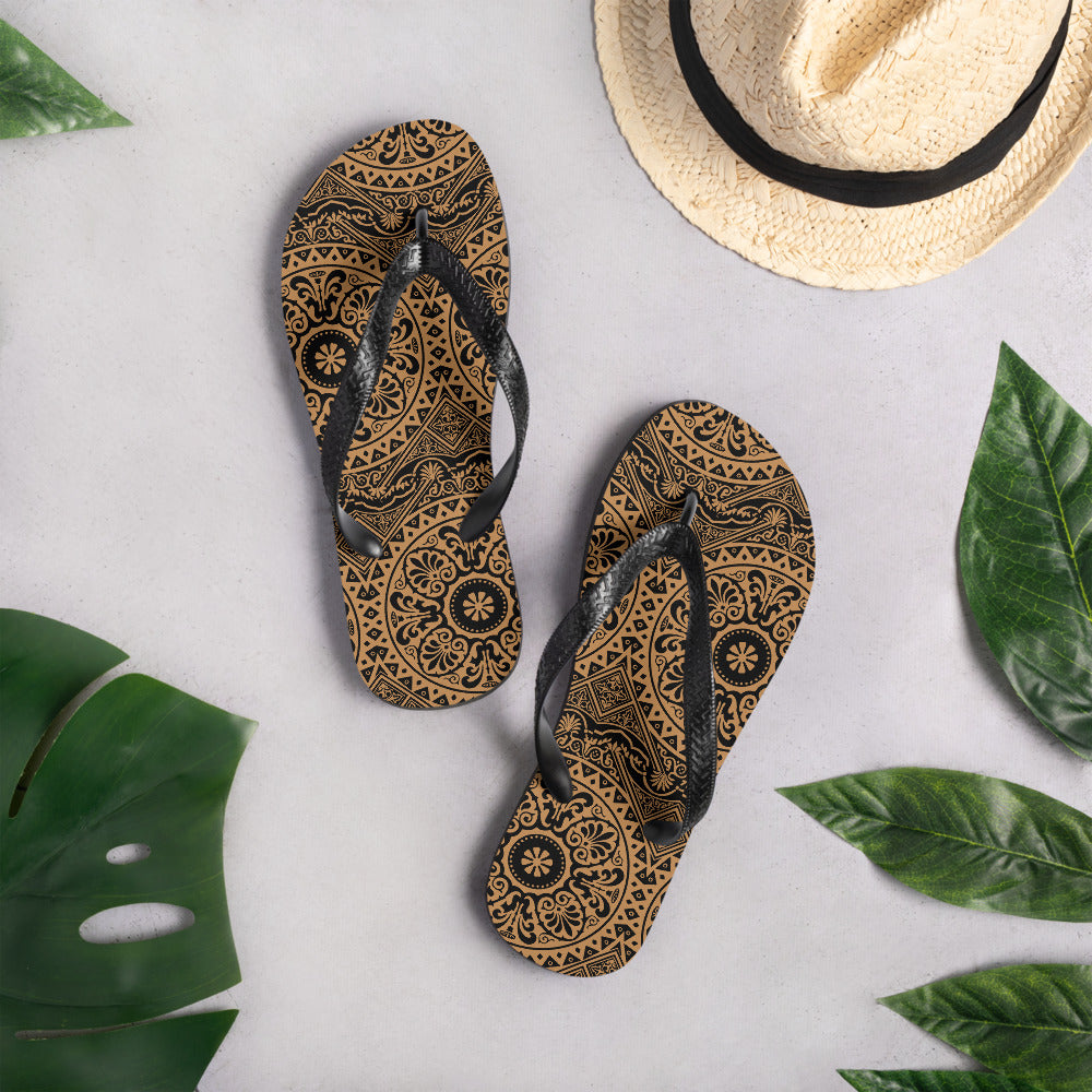 Black and Brown Floral Flip-Flops