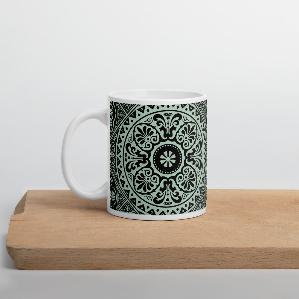 Mint and White Ethnic Floral Coffee Mug