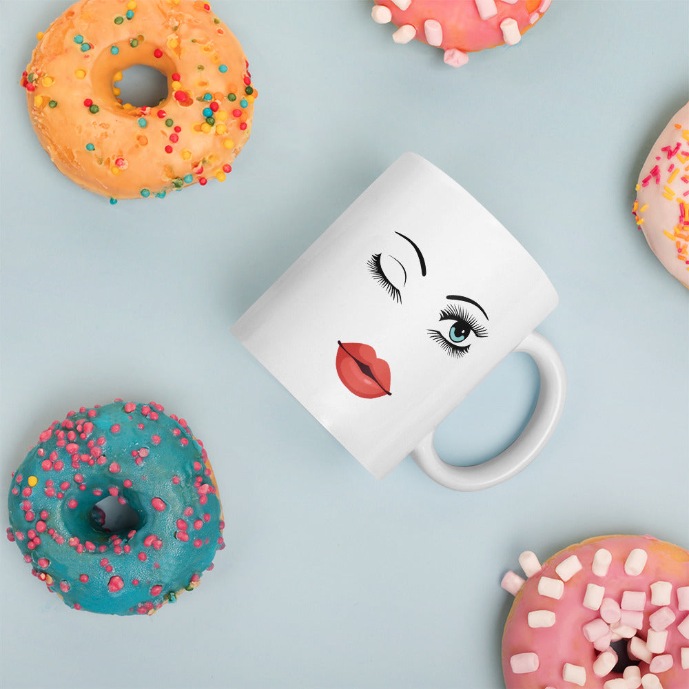 Winking Eye White Coffee Mug | Mynkoo.com
