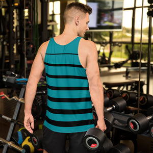 Teal and Black Striped Unisex Tank Top