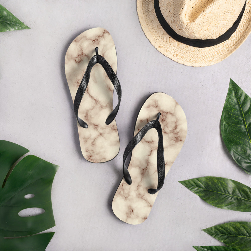 Brown and Vanilla Marble Flip-Flops