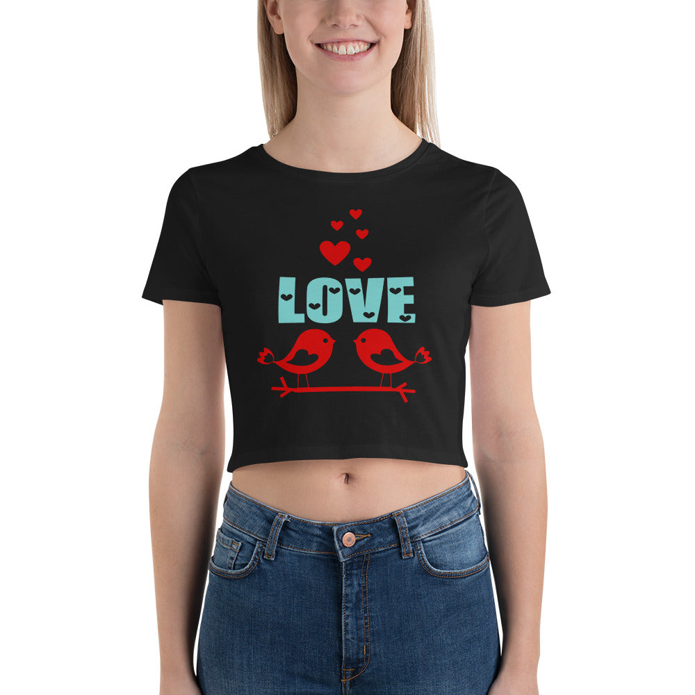 Love Birds Crop Top T-Shirt for Valentine's Day
