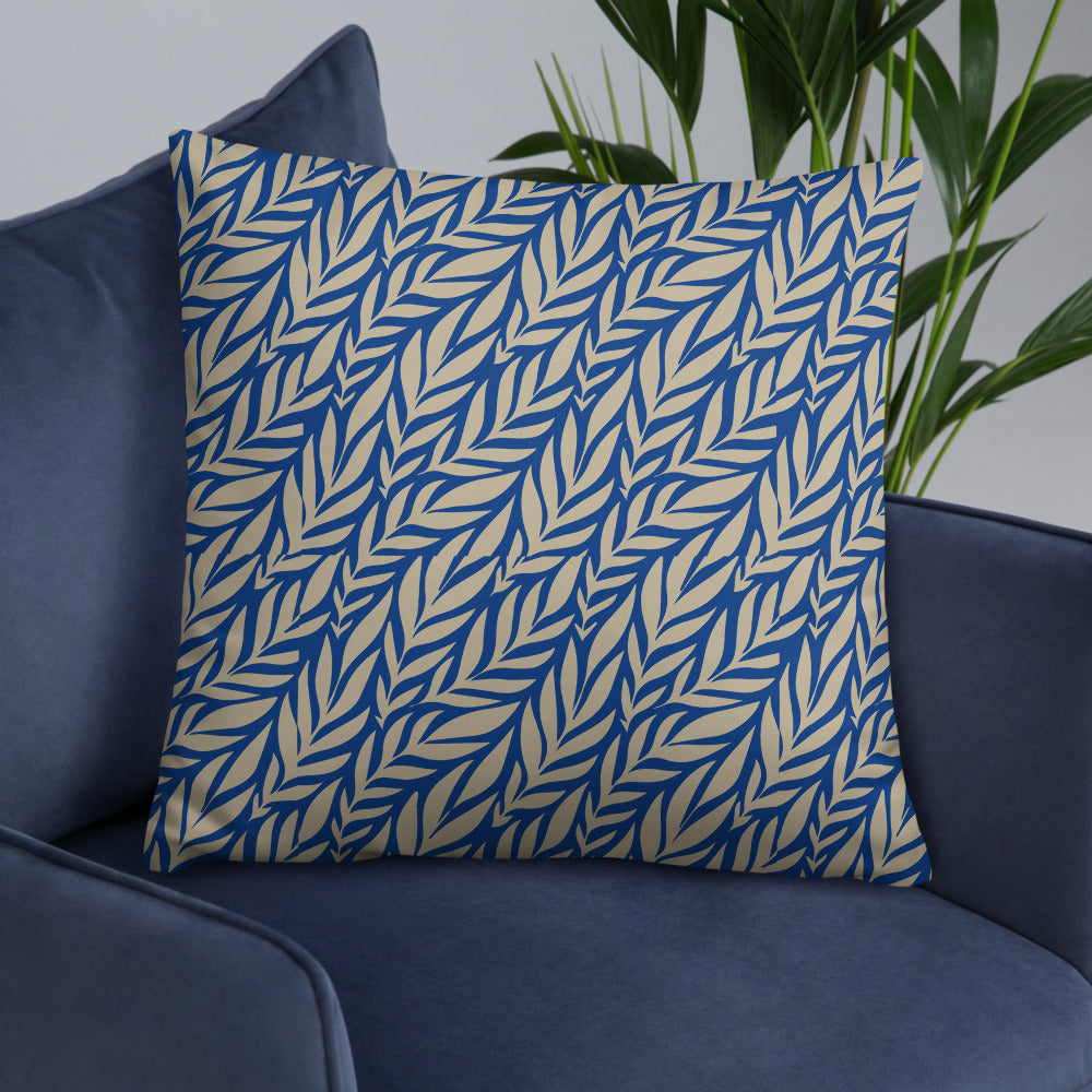 Tropical Leaves Blue Throw Pillows