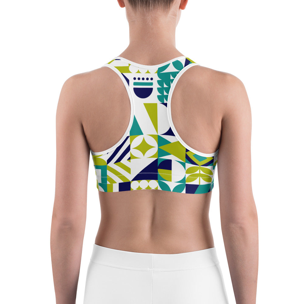 Abstract Blue Green and white Sports bra