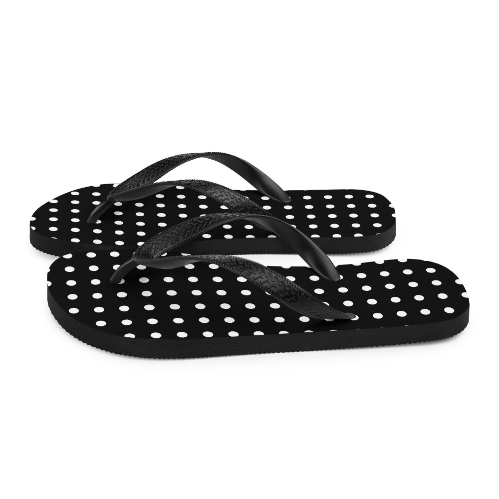 Black Flip-Flops with White Dots