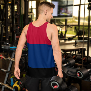 Blue Black and Red Unisex Tank Top