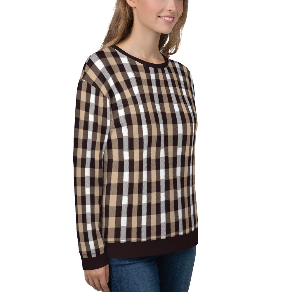 Brown Plaids Christmas Sweatshirt for Women