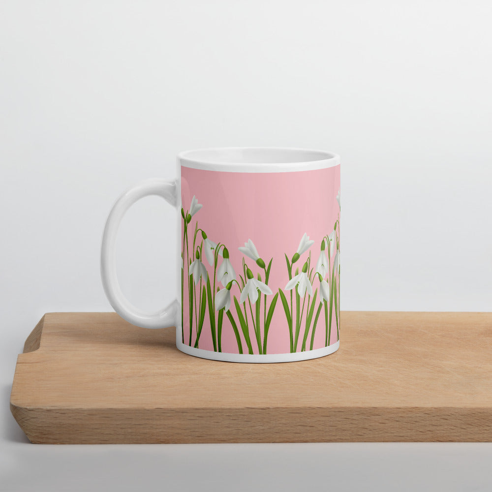 Pink Mint White Floral Coffee Mug