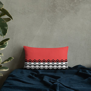 Coral Pink Black and White Throw Pillow