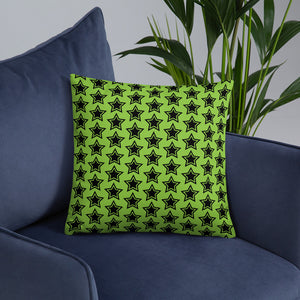Green Throw Pillow with Stars