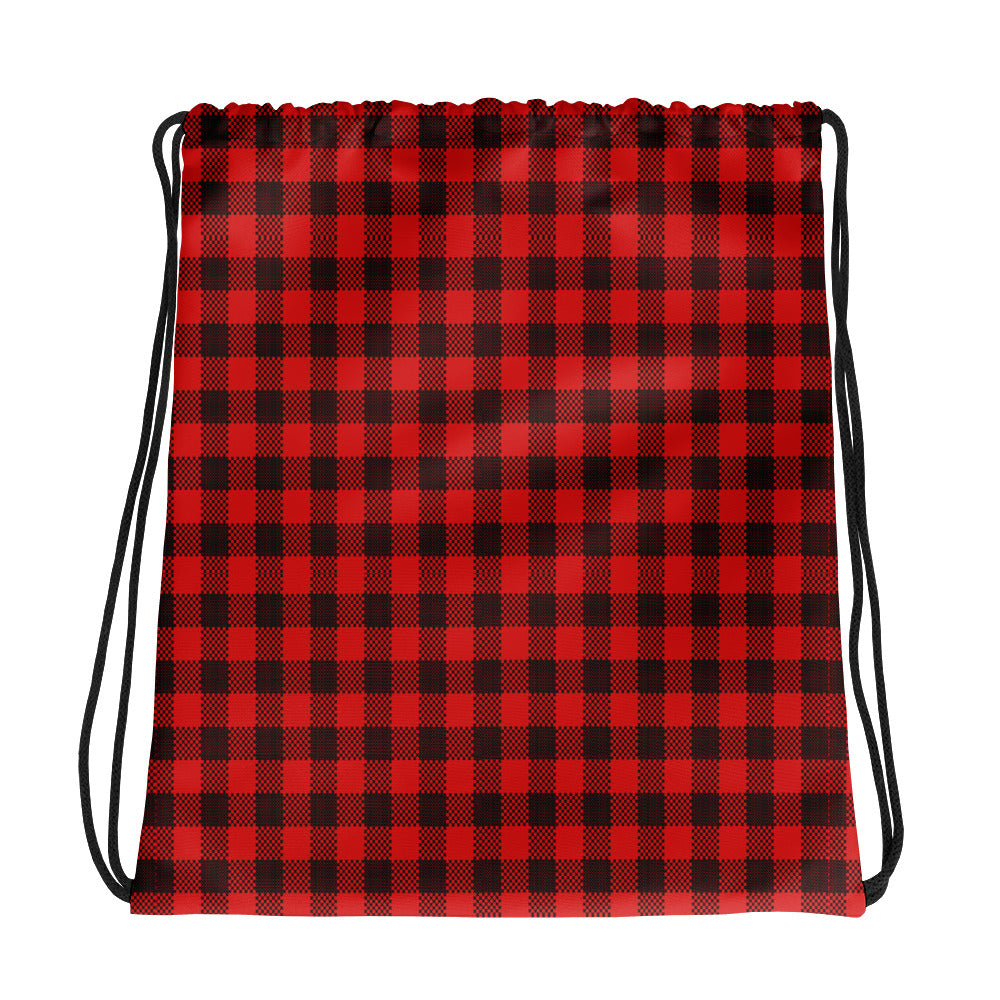 Black and Red Plaid Drawstring bag
