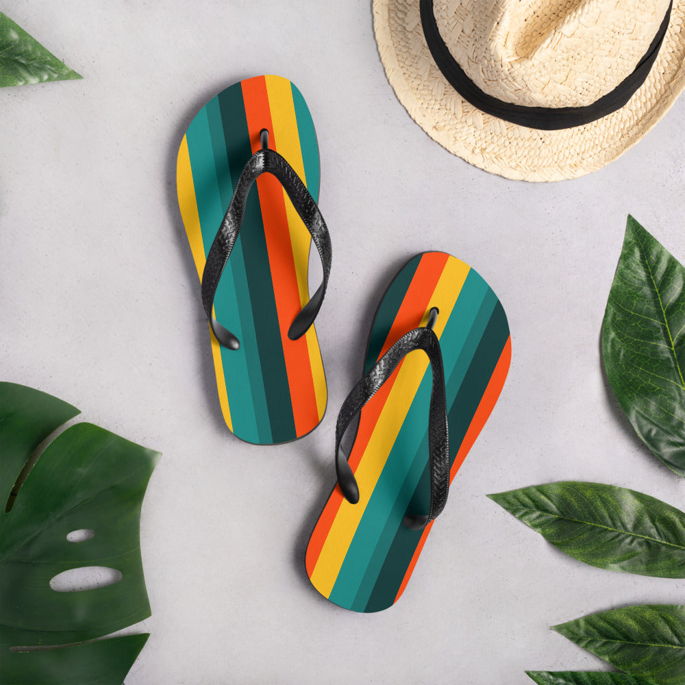 Vintage Green and Orange Flip-Flops