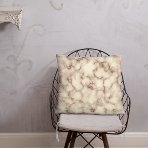 Brown and Cream Marble Throw Pillow