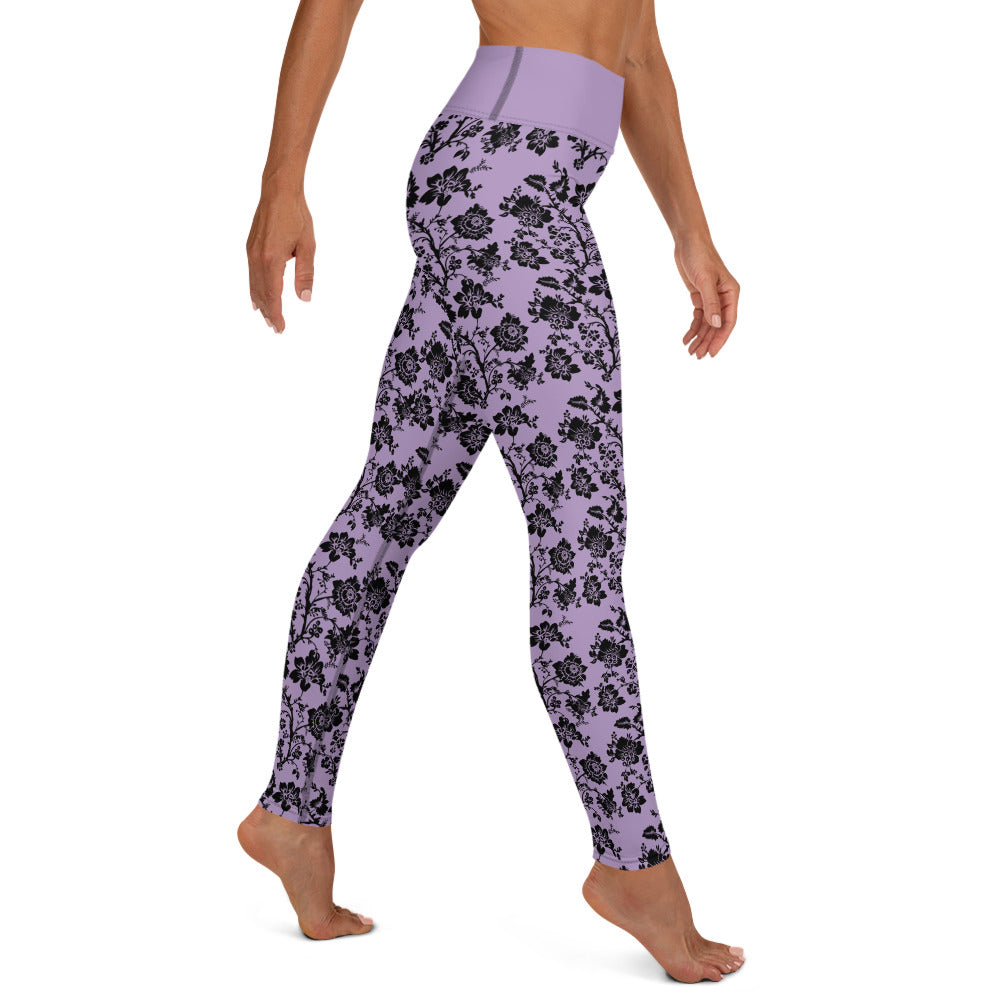Purple Black Floral Yoga Leggings