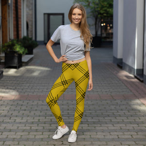 yellow and green plaid leggings for womens