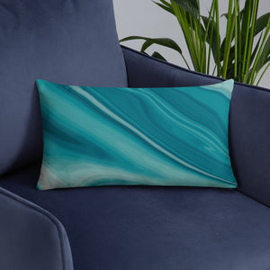 Turquoise Blue Marble  Throw Pillow
