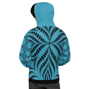 Seamless Pattern Black and Blue Unisex Hoodie