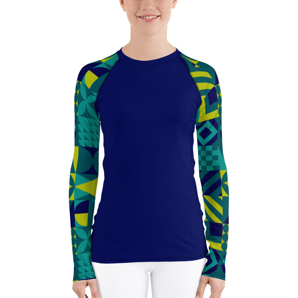 Dark Blue And Teal Abstract Women's Rash Guard