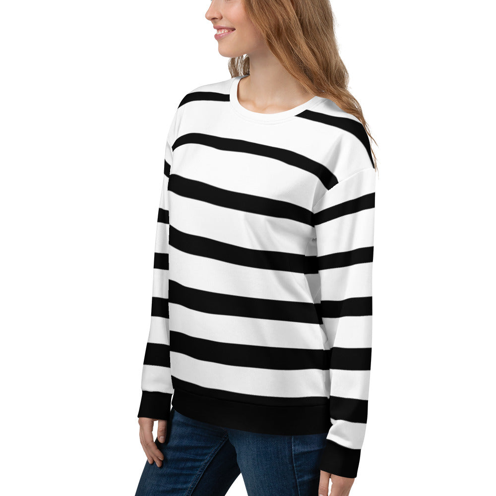Black and White Striped Sweatshirt for Women
