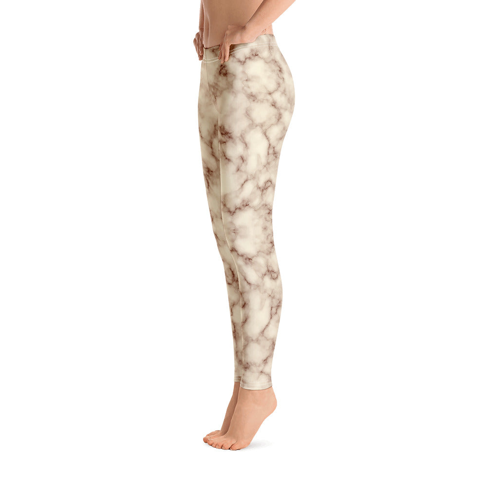 Brown and white Marble Leggings Womens Right