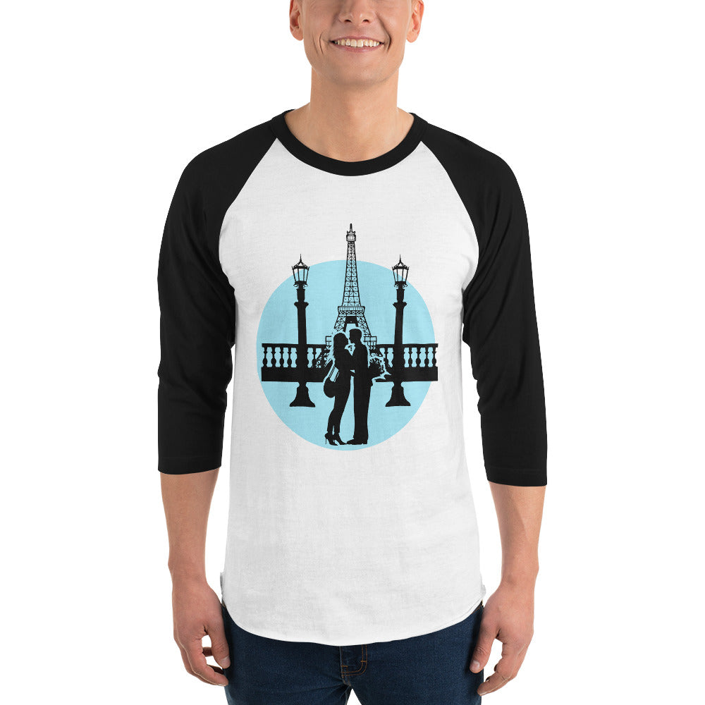 Eiffel Tower 3/4 Sleeve Raglan Shirt for Men