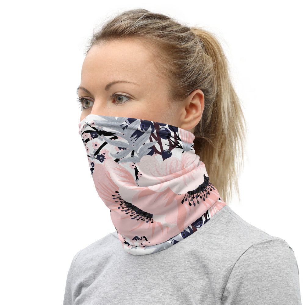 Floral Pink Neck Gaiter Face Mask