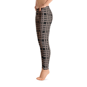 Black and Nude Weaving Leggings Womens Right
