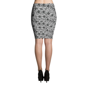 Grey Floral Pencil Skirt