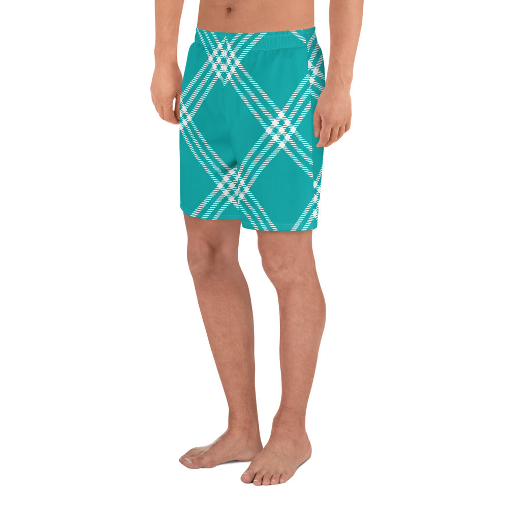 Turquoise Plaid Men's Athletic Long Shorts
