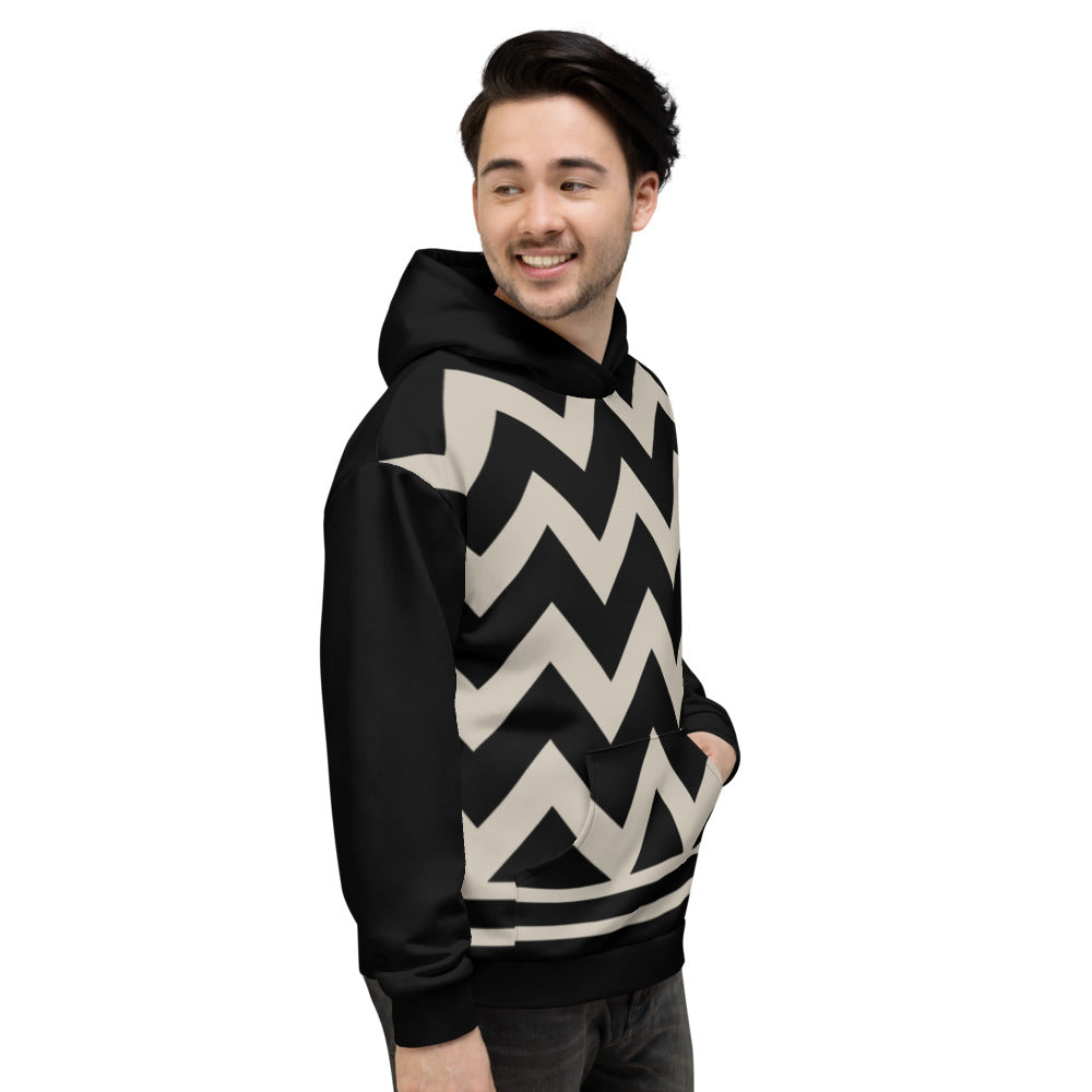 Black and Nude Chevron Unisex Hoodie