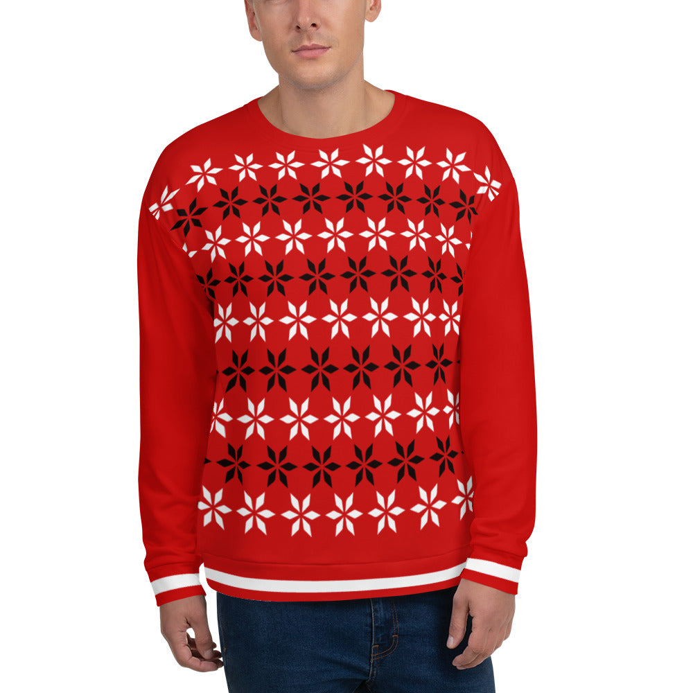 Black & White Floral Christmas Sweatshirt for Men