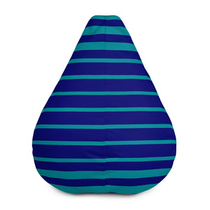 Royal Blue and Teal Striped Bean Bag Chair w/ filling