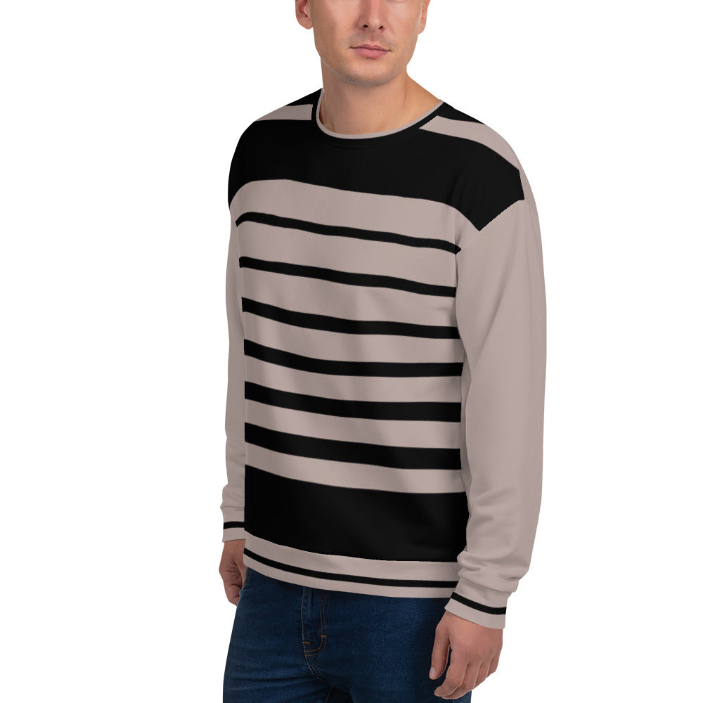 Nude and Black Striped Unisex Sweatshirt