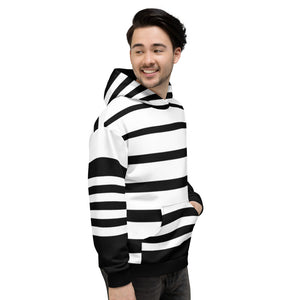 Black and White Striped Unisex Hoodie