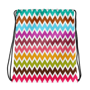 Multi Color Zigzag Pattern Drawstring bag