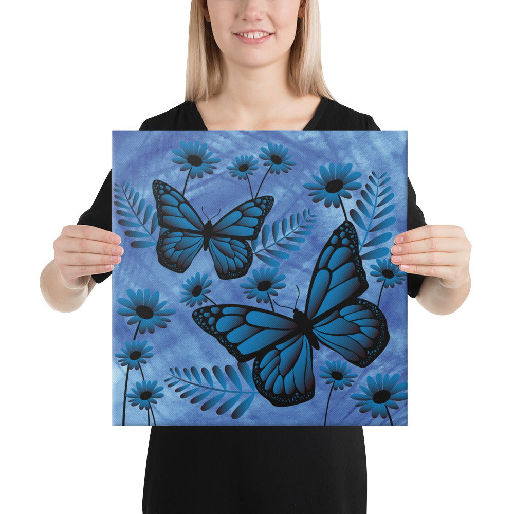 Blue Butterfly Floral Canvas