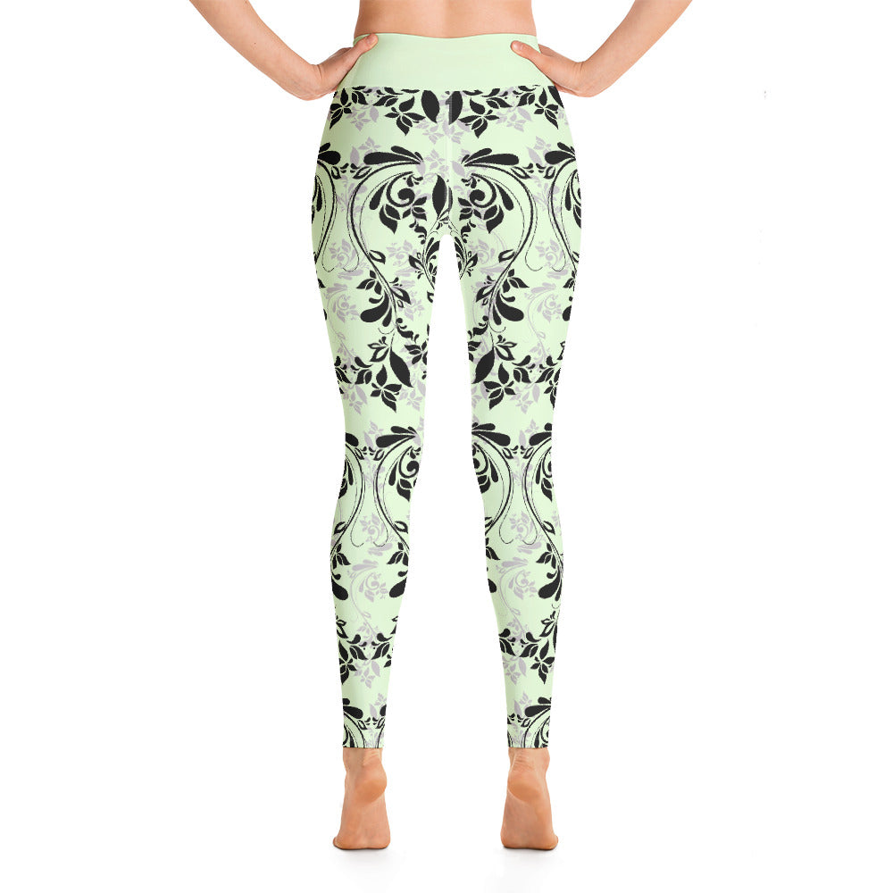 Creamy Floral Yoga Leggings