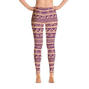 Nude and purple Floral Leggings