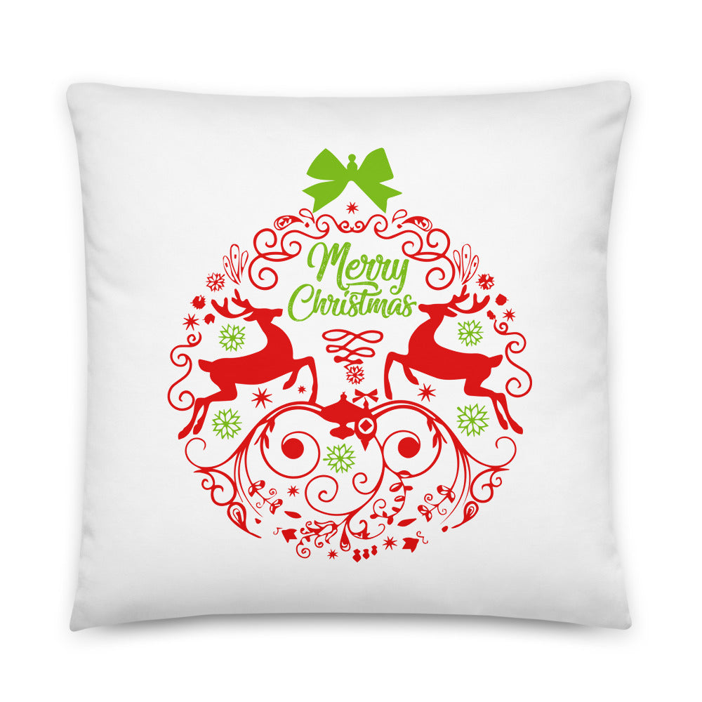 Merry Christmas Reindeer Ball Throw Pillow