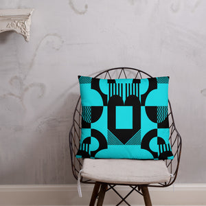 Black and Turquoise Double-sided Throw Pillow