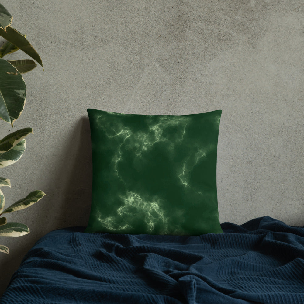 Green Marble Throw Pillow